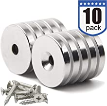 DIYMAG 10 Pack 1.26 inch x 0.2 inch Neodymium Disc Countersunk Hole Magnets. Strong, Permanent, Rare Earth Magnets,with 10 Screws.