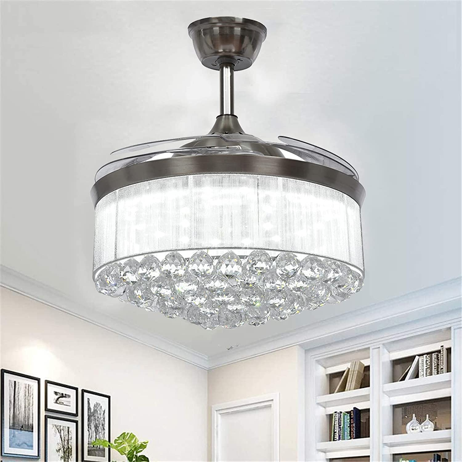 42 Inch Crystal Max 55% OFF Ranking TOP3 Ceiling Fan Chandelier Retractable