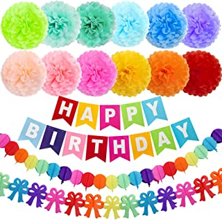 ZJHAI 15pcs 10 Inches Birthday Paper Pom Poms (12 Colors), Happy Birthday Party Bunting Banner, Rainbow Paper Garland for Birthday Party Decorations