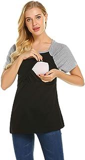 بلوزة رضاعة نسائية للحوامل من إكوير، تيشيرت كاجوال ذو طبقات للرضاعة الطبيعية ملابس الحمل فضفاضة