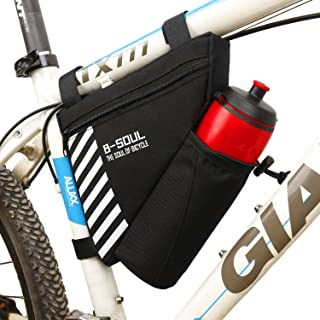 Diniiko Bike Triangle Frame Bag with Water Bottle Pouch Water Resistance Polyester Front Tube Bag Saddle Bag for Mountain Road Bicycle
