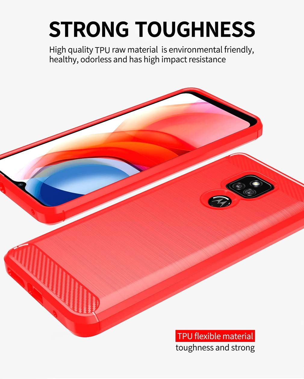 Moto G Play 2021 Case,with HD Screen Protector,Shock-Absorption Flexible TPU Bumper Cove Soft Rubber Protective Case for Motorola Moto G Play 2021 (Red Brushed TPU)