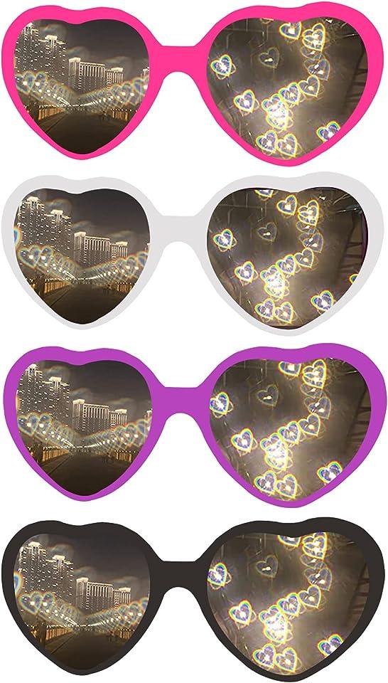 4pcs Heart Effect Diffraction Glasses, 3D Heart Sunglasses with Heart Effects, Special Effect Heart-Shaped Sunglasses Fashion Rave Glasses for Men Women Driving, Festival, Party
