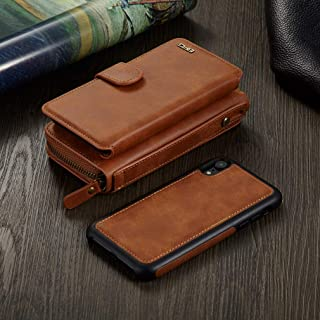 for iPhone XR Wallet Case - Urvoix Premium Leather Zipper Purse with Strap, Detachable Removable Magnetic Case with Card Holder Flip Cover for iPhone XR(6.1-inch Screen), Brown