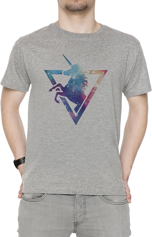 Erido Galaxia Unicornio Hombre Camiseta Cuello Redondo Gris Manga Corta Todos Los Tamaños Men's Grey