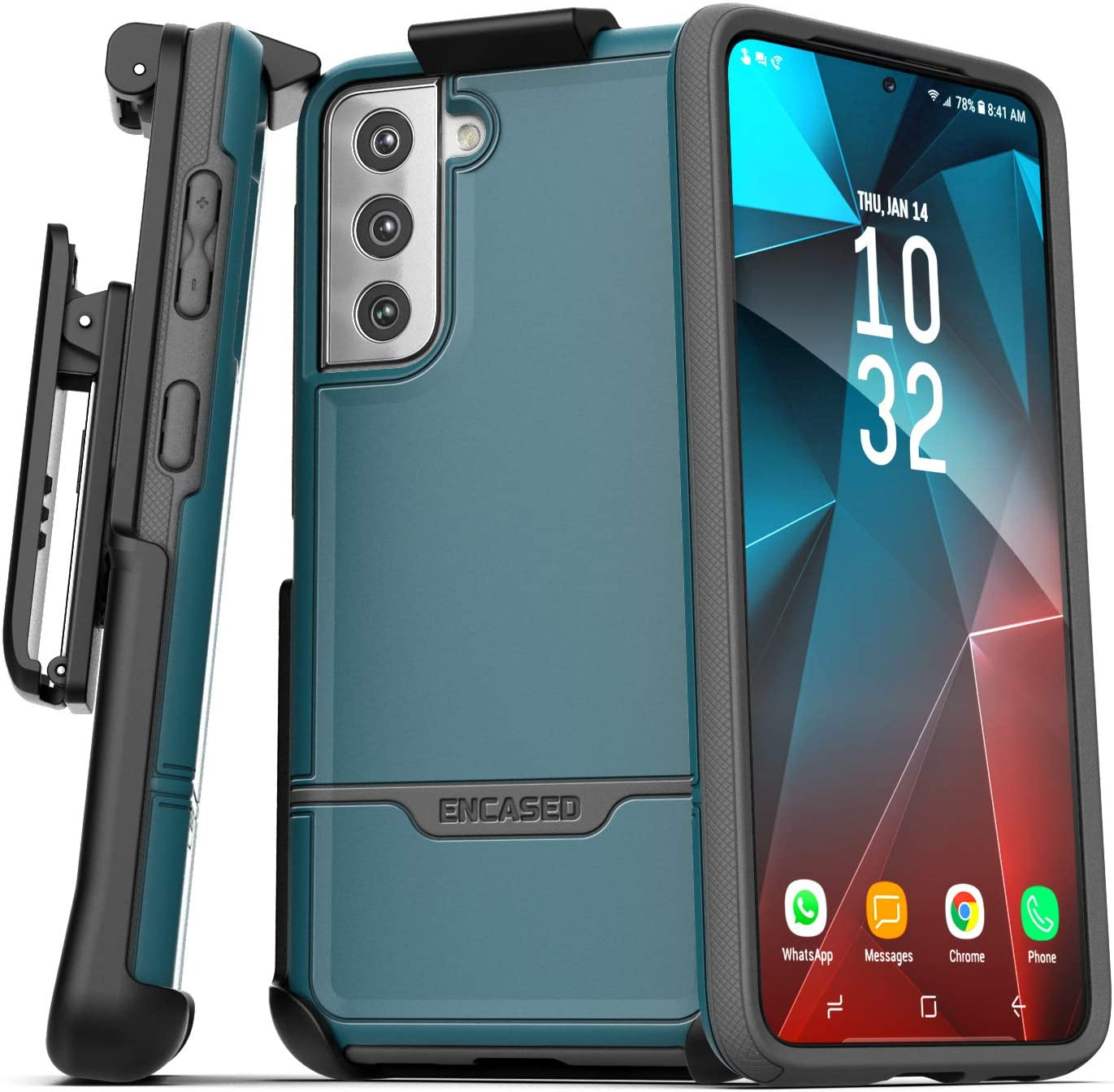 Encased Rebel Series Designed for Samsung Galaxy S21 Plus Belt Clip Case (2021) Protective Heavy Duty Holster Phone Case - Blue
