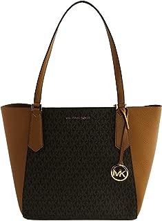 Michael Kors Large Kimberly Signature Shoulder Tote Bag Brown Acorn