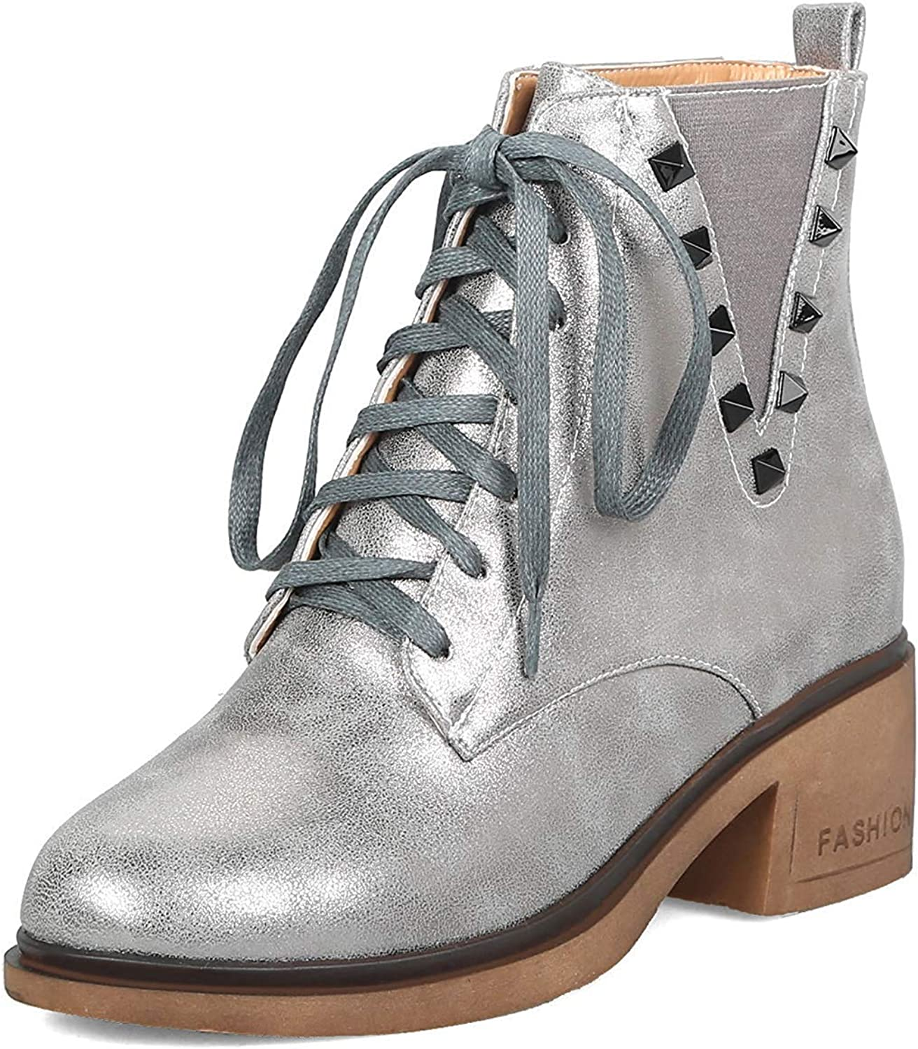 Unm Women's Round Toe Lace Up Short Boots - Stylish Studded Elastic - Mid Chunky Heel Ankle Booties