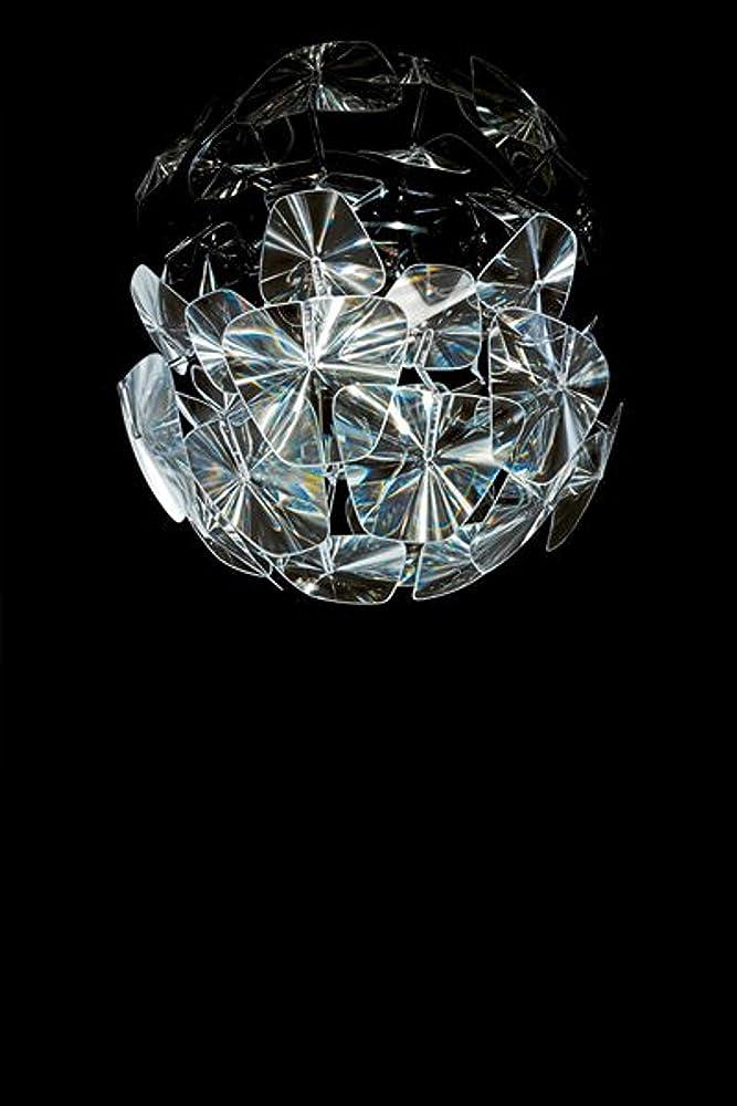 Luceplan hope d66/12p, lampadario a soffitto,struttura in acciaio,bracci in policarbonato 1D6612P00000_CRISTALLO/CROMO