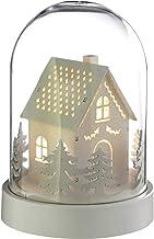 WeRChristmas Pre-Lit House Bell Jar Warm LED Christmas Decoration, Wood, 18.5 cm - White
