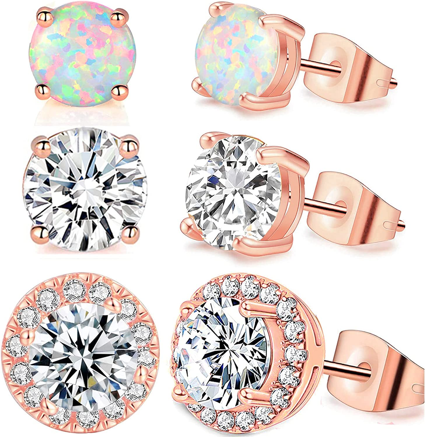 Gorgeous Pack of 7 Phoenix Mall CZ Halo White Opal Hypoaller Stud Gold Plated Earrings