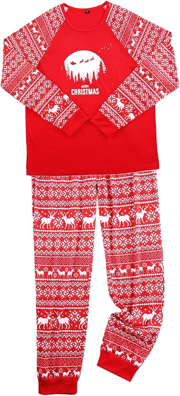 Goldweather Christmas Family Matching Pajamas Print Long Sleeve Tops + Pants Cotton Winter Holiday Xmas Pjs Sleepwear Sets