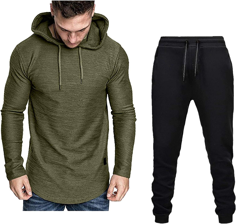 Men's Tracksuit Set Splicing Zipper Sweatshirt Jogger Sweatpants Solid Patchwork Sports Suit