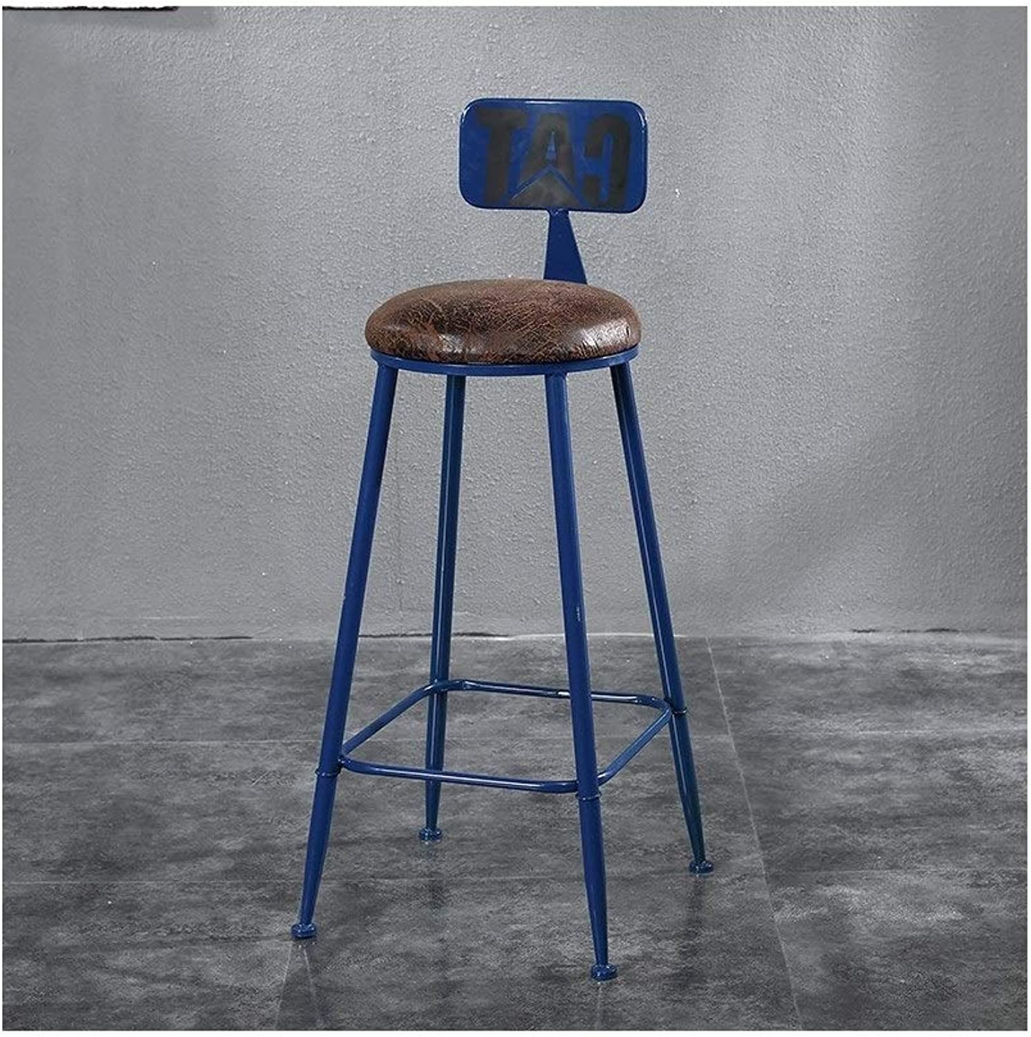 Bar Stool Solid Wood Chair Iron Frame high Stool Boss Chair (color   D, Size   1)