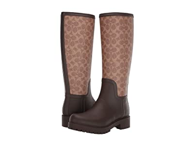 COACH Signature Rain Boot with Signature Coated Canvas (Tan/Dark Brown Rubber) Women
