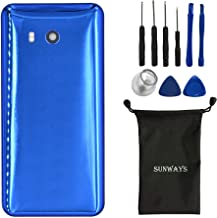 (Acrylic Glass Material) sunways Battery Case with Adhesive+ Rear Camera Glass Lens Replacement for HTC U11(Sapphire Blue)