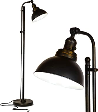 Brightech Dylan - Industrial Floor Lamp for Living Rooms & Bedrooms - Rustic Farmhouse Reading Lamp - Standing, Adjustabl