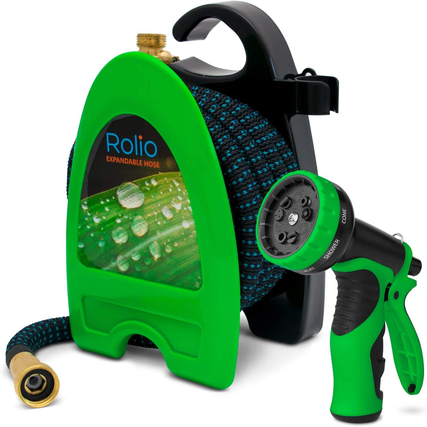 Rolio - Expandable Hose - Retractable Garden Hose with Nozzle - 50ft Water Hose with 9 Function Spray Nozzle
