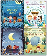 Usborne Lift The Flap Very First Questions and Answers 4 Books Collection Set (What is the Moon, What are Stars, What are Germs, What is Poo)