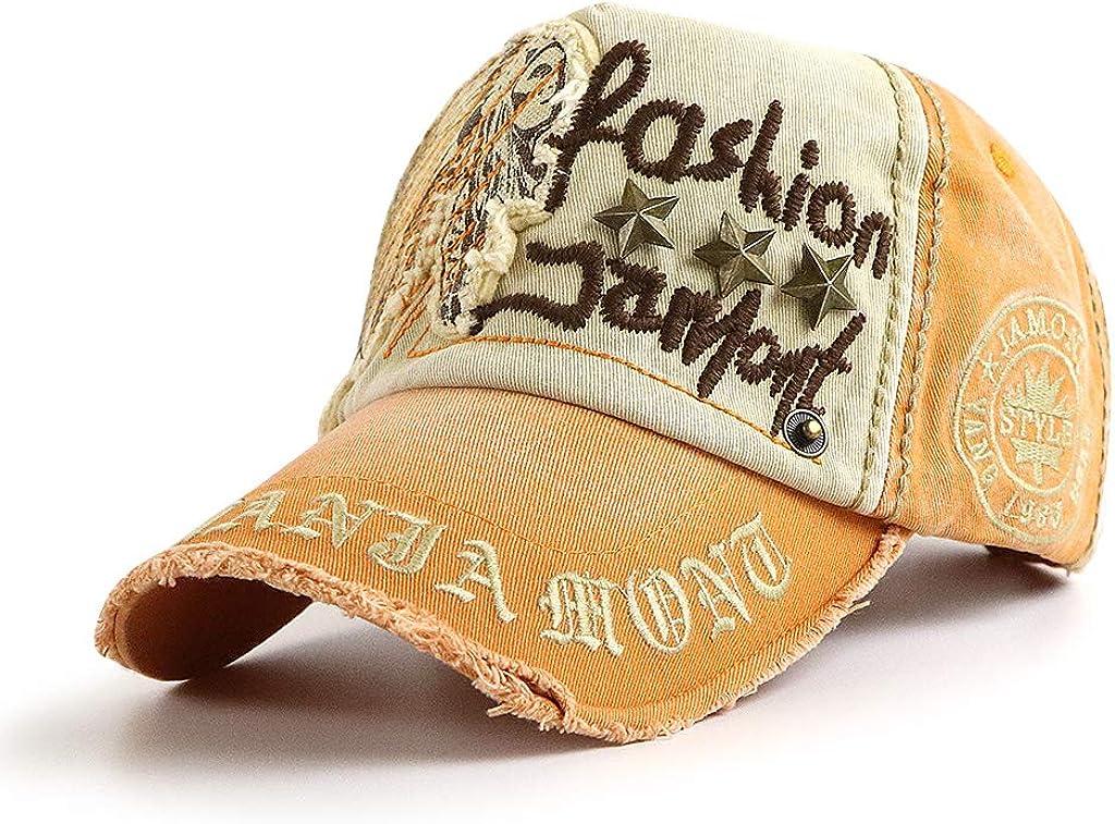 Mens Baseball Cap Vintage Cotton Washed Distressed Hats Rivets Adjustable Dad-Hat