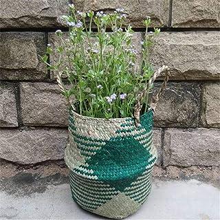 Panier de Rangement en Paille Nordic Seagrass Tressé Panier Linge Sale Osier Pliable Mallalah Corbeille avec Poignée Pots ...