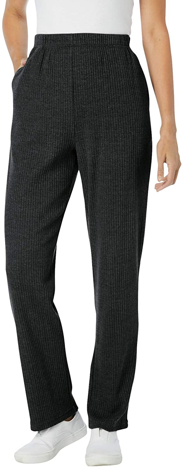 Woman Within Women's Plus Size Tall 7-Day Knit Ribbed Straight Leg Pant
