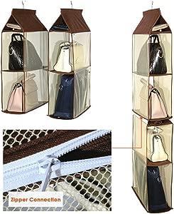 Bulary Pocket Closet Internal Wardrobe Hanging Bags Handbag Organiser Mesh Shoe Storage Tidy Collection Storage Holder for Living Room Bedroom  A