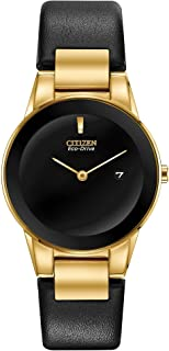 Ladies' Citizen Eco-Drive Axiom Gold-Tone Black Leather Strap Watch GA1052-04E