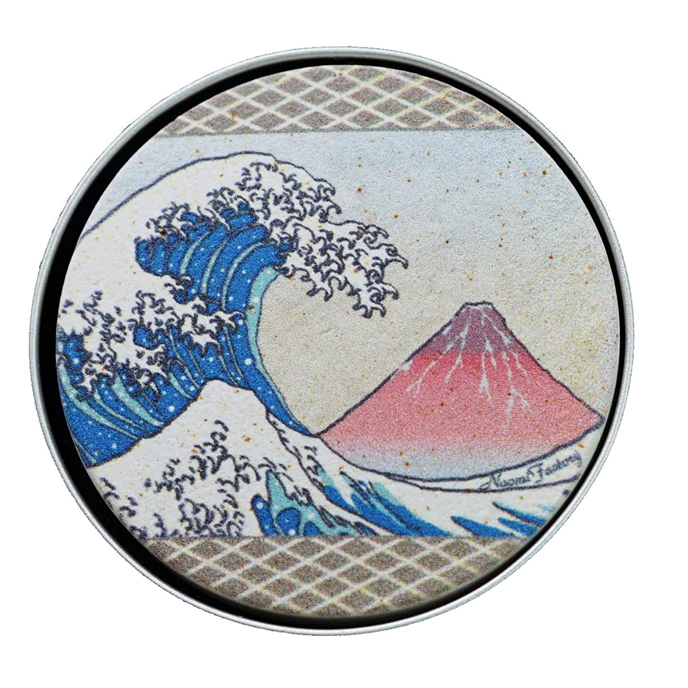 クラックポット置き場味方【天使のアロマプレート】 浮世絵 浪と赤富士(珪藻土 吸収力抜群 持ち運べる 日本製)