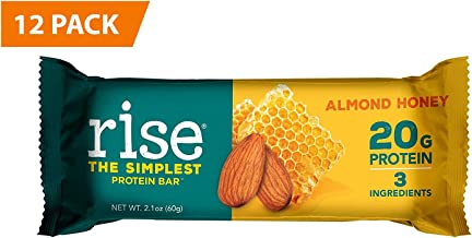 Rise Bar Non-GMO, Gluten Free, Soy Free, Real Whole Food, Whey Protein Bar (20g), No Added Sugar, Almond Honey High Protein Bar with Fiber, Potassium, Natural Vitamins & Nutrients 2.1oz, (12 Count)