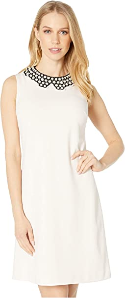 Scuba Crepe Dress with Pearl Collar