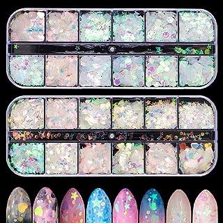 Xinzistar 2 Boxes Nail Sequins Star Nail Glitter Holographic Nail Decoration Nail Supplies Sparkle Nail Flakes Heart Desig...