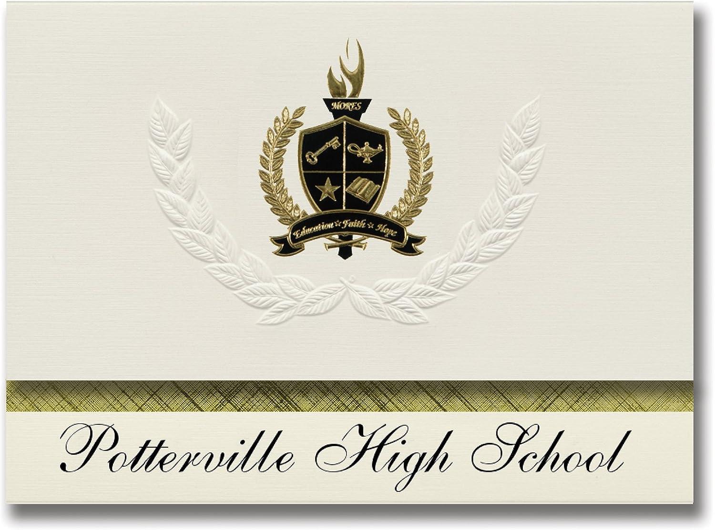 Signature-Announcements Potterville High School (Potterville, MI) Schulabschlussankündigungen, Präsidential-Stil, Grundpaket mit mit mit 25 Goldfarbenen und schwarzen metallischen Folienversiegelungen B0795VFXF9 | Üppiges Design  d920f0
