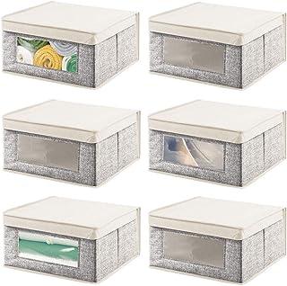 mDesign boîte de Rangement empilable en Fibre synthétique (Lot de 6) – Grande Caisse de Rangement avec hublot pour Bureau,...