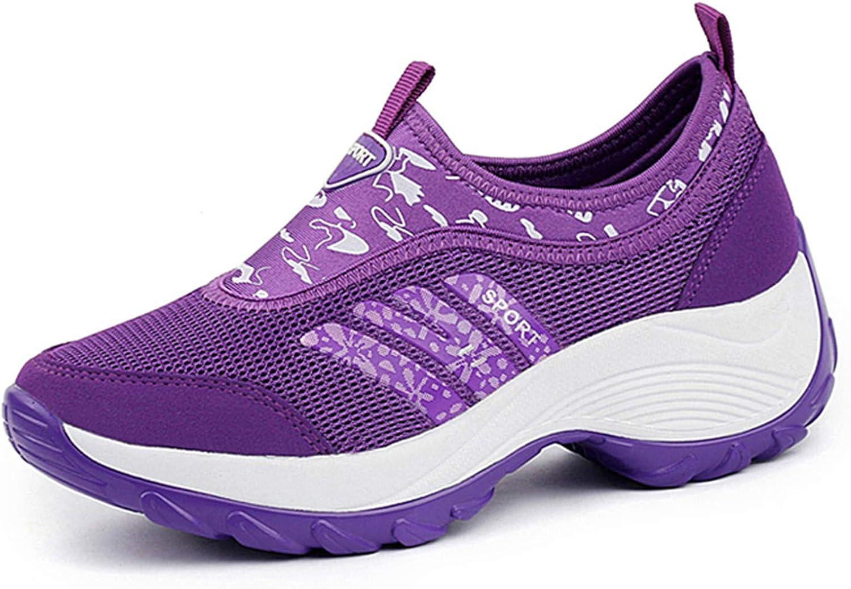 DADAWEN Women's Slip-On Platform Fitness Work Out Sneaker
