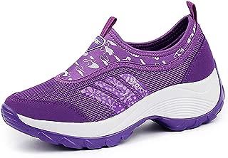 DADAWEN Women's Slip On Breathable Mesh Walking Shoes Comfort Wedge Platform Sneakers