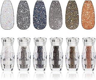 6 Bottles Nail Pixie Crystals Multicolor Micro Caviar Beads Mini Glass Rhinestone for Nail Art Design Metallica Rock 3D Na...