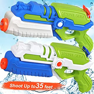 POKONBOY 2 Pack Super Water Guns Water Blaster Super Soaker Squirt Guns, Shoots Up to 35 Ft Water Pool Games Toy for Kids ...
