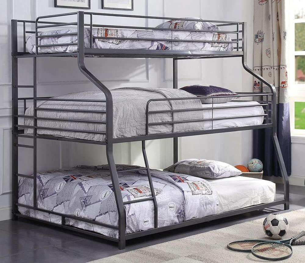 Amazon Com Acme Caius Ii Triple Bunk Bed Twin Full Queen Gunmetal Furniture Decor