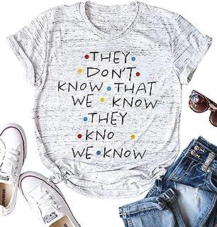 قمصان الأصدقاء التي لا تعرفها تي شيرت للنساء مطبوع عليها الحروف الأصدقاء، البرنامج التلفزيوني طباعة الرسومات