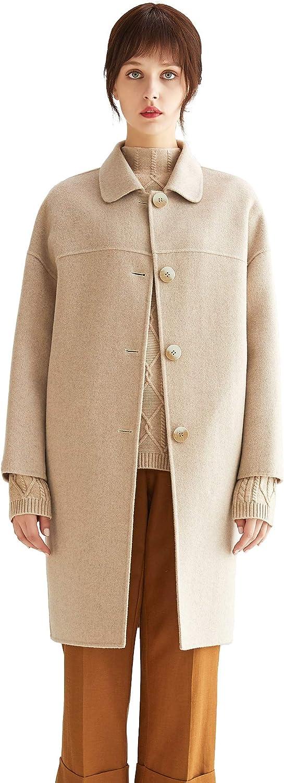 VUTOLEE Women Winter Luxury goods Pea Phoenix Mall Coat - Ble Wool Breasted Single Fashion