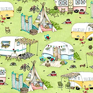 Dish Drying Mat - Pet Placemat - Appliance Mat - Camper Mat - Camping Scenes on Green - 16 x 20 Inches
