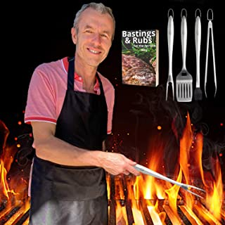 BEST BBQ GRILL TOOL SET GIFT | K LIVING | FREE APRON & CHEF GAV EBOOK | 100% Premium Heavy Duty Barbecue Accessories | No....