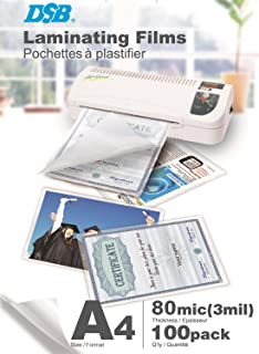 DSB POAD80A4 Bo/îte de 100 Pochette de Plastification A4 2 x 80 microns Dos Adh/ésif Transparent