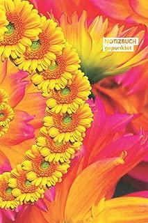 Notizbuch gepunktet: mit Punkten / Dot grid Notebook (6x9) A5 modisches Notizbuch 108 Seiten Blumen Rot Rosa Gelb (German Edition)