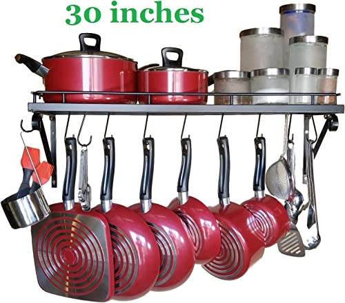 Premium Presents Wall Mounted Pots and Pans Rack. Pot Holders Wall Shelves With 10 Hooks. Kitchen Shelves Wall Mounte...