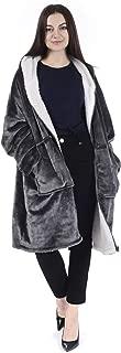 Chemstar Reversible Comfort Hoodie Blanket Sweatshirt,  Oversize Wearable Fleece Blanket Warm Coat (Heave Grey)