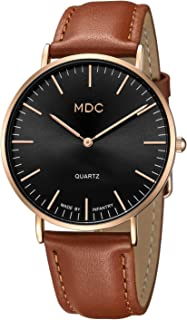 MDC Mens Leather Minimalist Watch, Ultra-Thin Classic Casual Dress Wrist Watches for Men with Leather Band