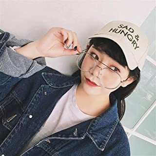 Lei Zhang 2019 Spring Models Letters Korean Wild Men and Women Couple Baseball Cap Embroidered Belt Buckle Wholesale hat Tide (Color : SADBeige, Size : Adjustable)