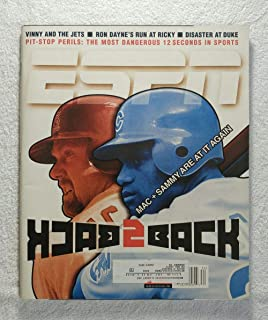 Mark McGwire & Sammy Sosa - Back 2 Back: Mac & Sammy are at it Again - ESPN Magazine - August 23, 1999 - Vinny Testaverde (New York Jets), The Pit-Stop: the Most Dangerous 12 Seconds in Sports article